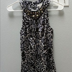 Cache silk sleeveless top with jeweled neckline